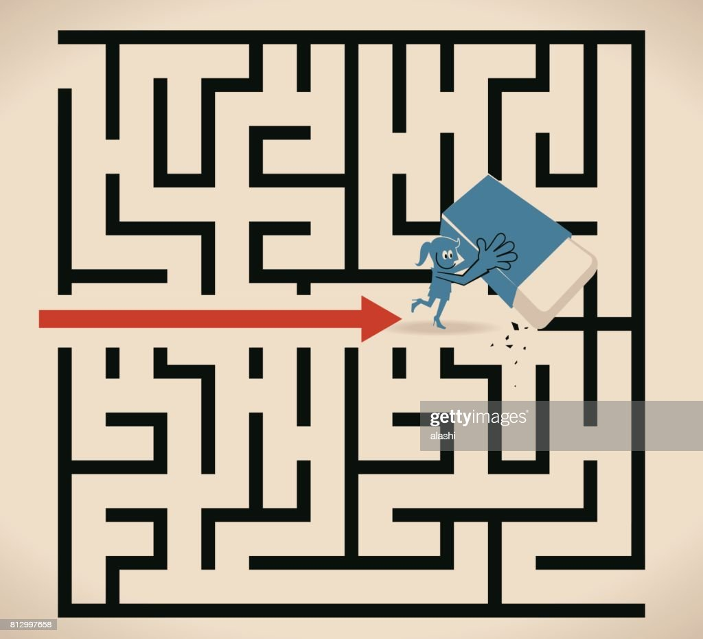 Businesswoman (woman, girl) walking through a maze opened up by a eraser : Stock Illustration
