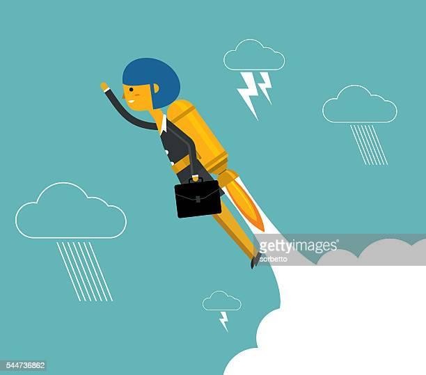 illustrations, cliparts, dessins animés et icônes de femme d'affaires avec une fusée montante - profession supérieure ou intermédiaire
