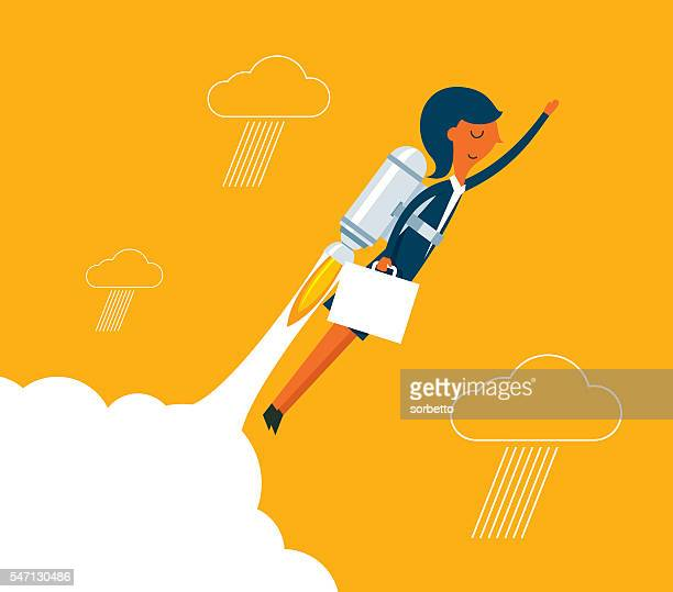 businesswoman with a rocket rising - professional occupation stock illustrations