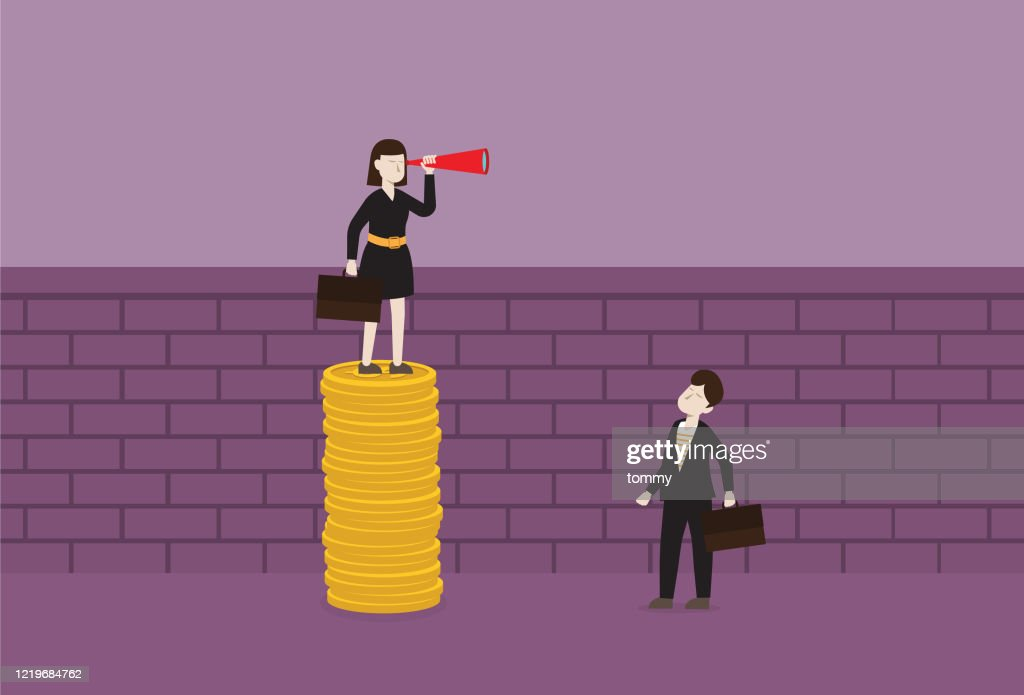 Businesswoman with a telescope stands on a stack of the coin for looking over the wall : stock illustration