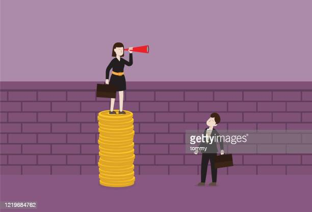 businesswoman with a telescope stands on a stack of the coin for looking over the wall - gender wage gap stock illustrations