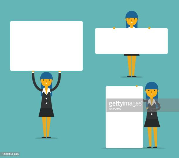 Businesswoman With Blank White Boards