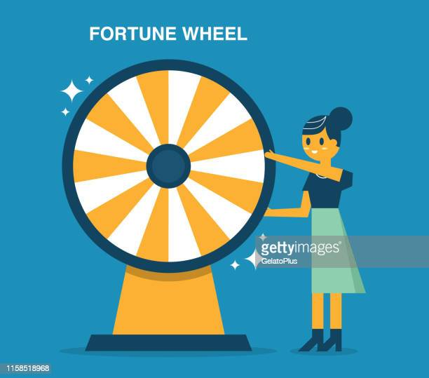 businesswoman with fortune wheel for gambling - spinning stock illustrations