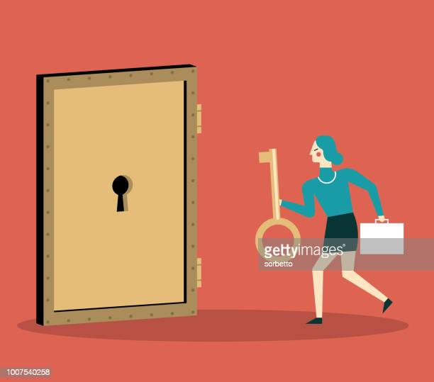 businesswoman with golden key try to unlock the door - keyhole stock illustrations, clip art, cartoons, & icons