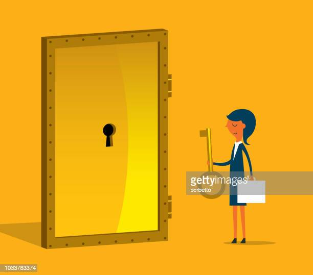 businesswoman with golden key try to unlock the door - closed stock illustrations, clip art, cartoons, & icons
