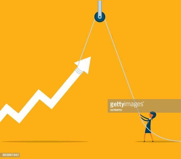 businesswoman with hoist up arrow