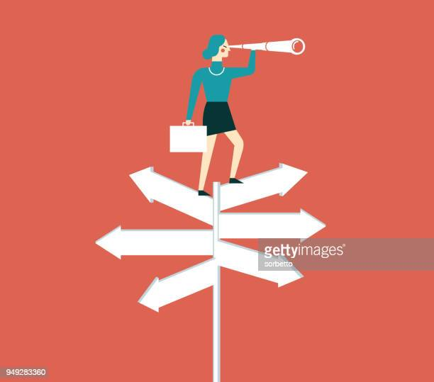 businesswoman with spyglass on a crossroad sign - fate stock illustrations