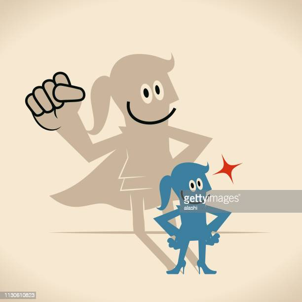 ilustraciones, imágenes clip art, dibujos animados e iconos de stock de empresaria con sombra de superhéroe - madre trabajadora