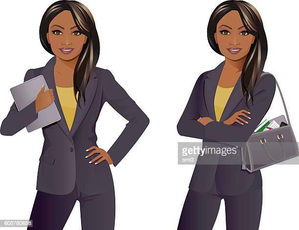 ilustrações, clipart, desenhos animados e ícones de businesswoman with tablet and arms folded with bag - mão no quadril
