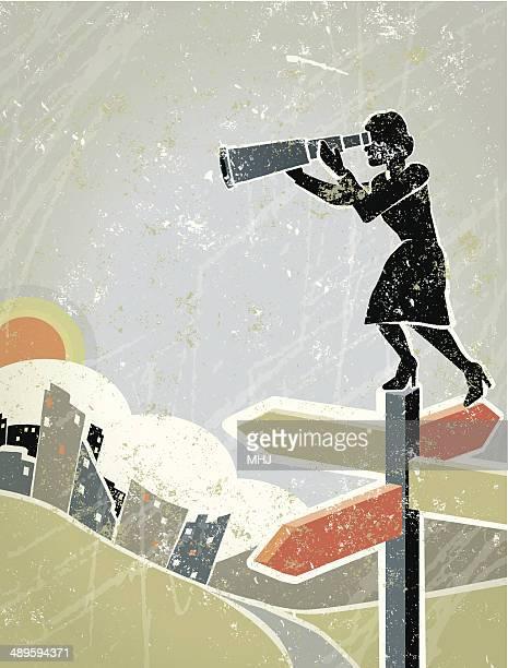 ilustrações, clipart, desenhos animados e ícones de mulher de negócios com telescópio em pé na estrada sinal no crossroads - encruzilhada