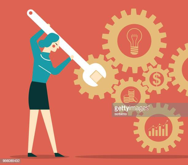 businesswoman with wrench and cogs - currency symbol stock illustrations
