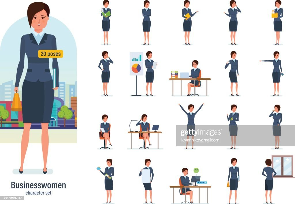 Businesswoman worker in formal wear. Different poses, emotions, gestures