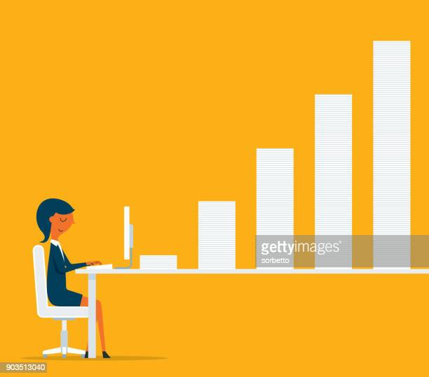 businesswoman working at computer with bar chart - overworked stock illustrations