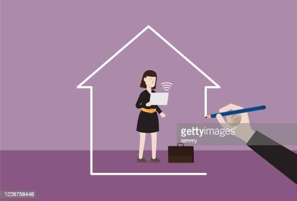 自宅で働くビジネスウーマン - コンセプト ニューノーマル点のイラスト素材/クリップアート素材/マンガ素材/アイコン素材