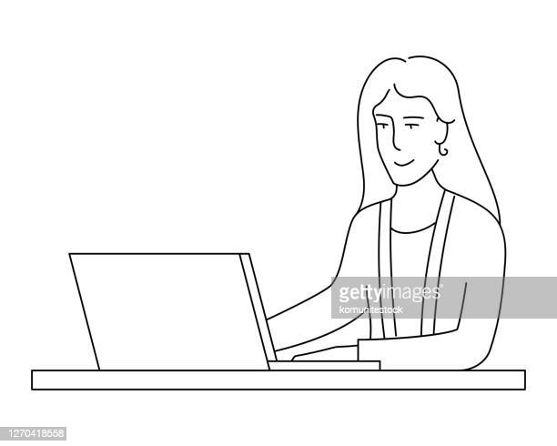 businesswoman working in an office related line style concept vector illustration - female likeness stock illustrations