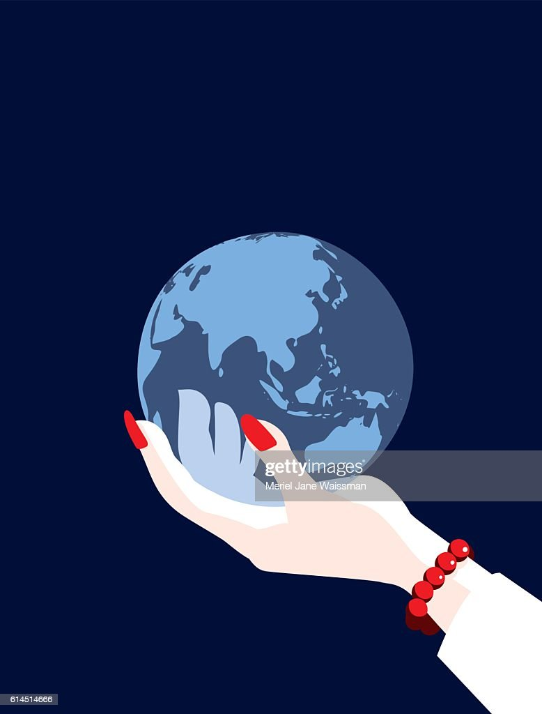 Businesswoman world globe map asia china russia and australia businesswoman world globe map asia china russia and australia vector art gumiabroncs Images
