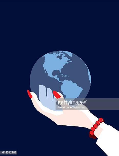 Businesswoman's Hand World Holding Globe Map Showing The Americas