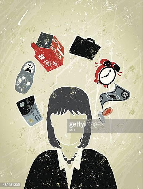 ilustraciones, imágenes clip art, dibujos animados e iconos de stock de empresaria's head rodeado de símbolos de vida trabajo dinero - madre trabajadora