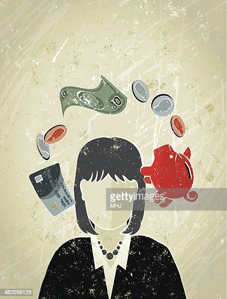 Businesswoman's Head Surrounded by Money Symbols