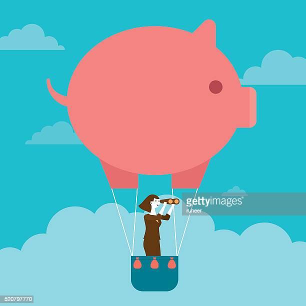 Businesswoman's Piggy Bank Hot Air Balloon Outlook | New Business