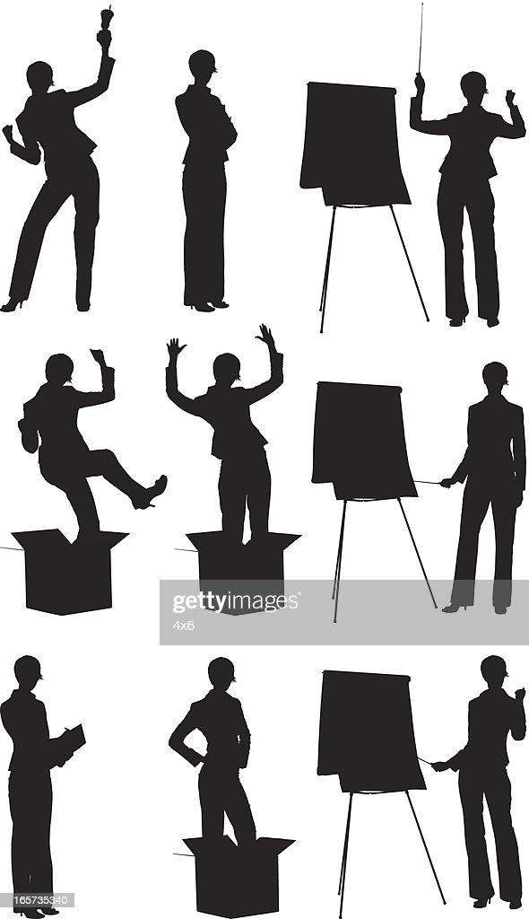 Businesswomen doing different activities : stock illustration