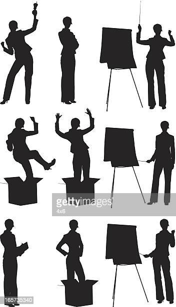 businesswomen doing different activities - arms akimbo stock illustrations