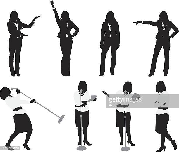 businesswomen doing different activities - microphone stand stock illustrations