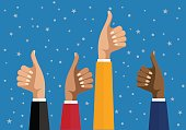 Businesswomen hands hold thumbs up. vector illustration in flat design. Financials, work motivation