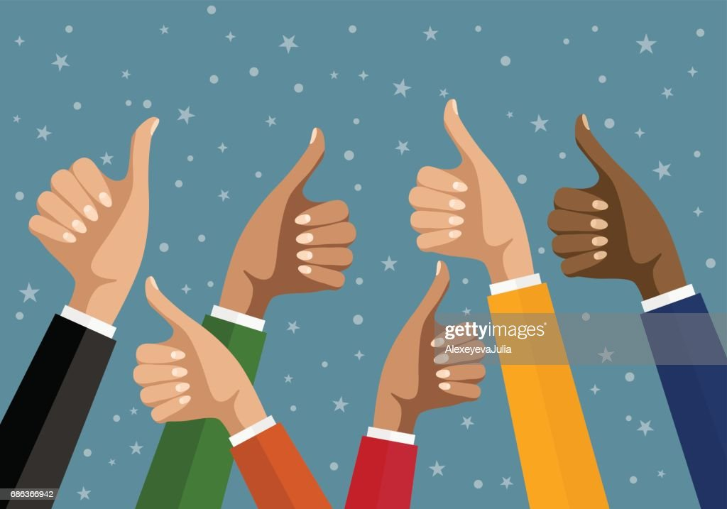 Businesswomen hands hold thumbs up. vector illustration in flat design. Financials, work motivation