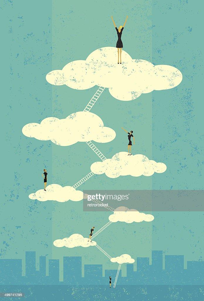 Businesswomen reaching seventh heaven