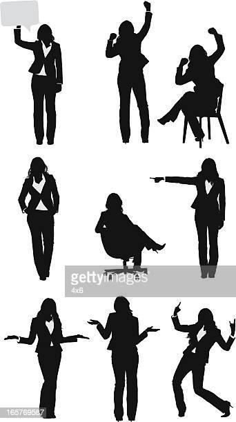 businesswomen vectors in different positions - shrugging stock illustrations, clip art, cartoons, & icons