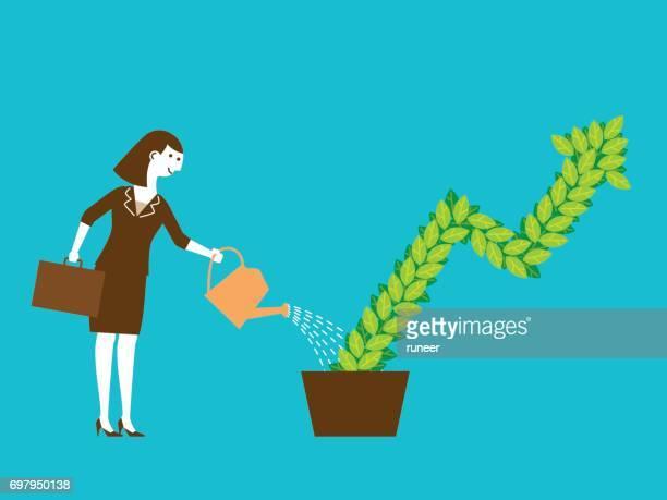 Bussineswoman investissement plante de plus en plus | Nouveau Concept d'affaires