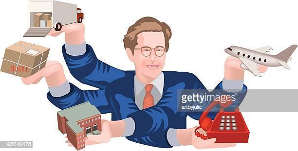 忙しいビジネスマン - 荷積み場点のイラスト素材/クリップアート素材/マンガ素材/アイコン素材