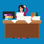 busy businesswoman stressed due to excessive work with full of paperwork in office, cartoon concept. vector illustration
