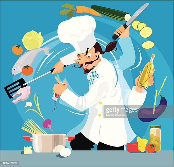 busy chef - marrom stock illustrations