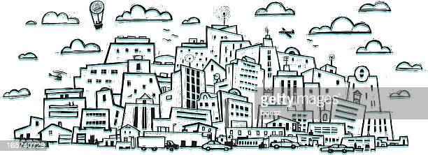 busy city - woodcut stock illustrations