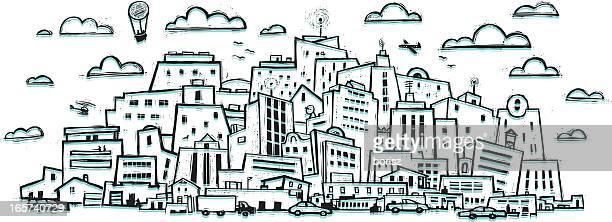 illustrations, cliparts, dessins animés et icônes de ville animée - pollution