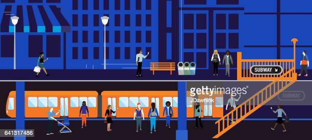 busy cityscape and subway platform scene with diverse people - public transportation stock illustrations