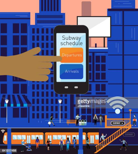 Busy Cityscape and subway platform scene with mobile phone subway application
