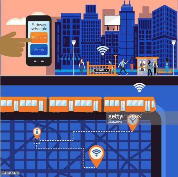 Drukke stadsgezicht en metro scène met diverse mensen