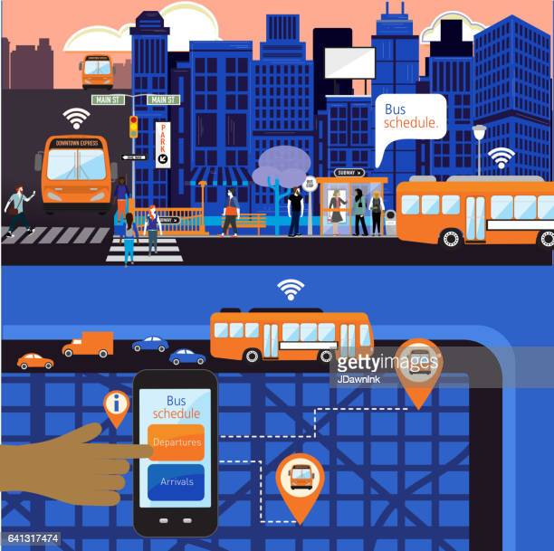 Busy Cityscape with Bus schedule concept