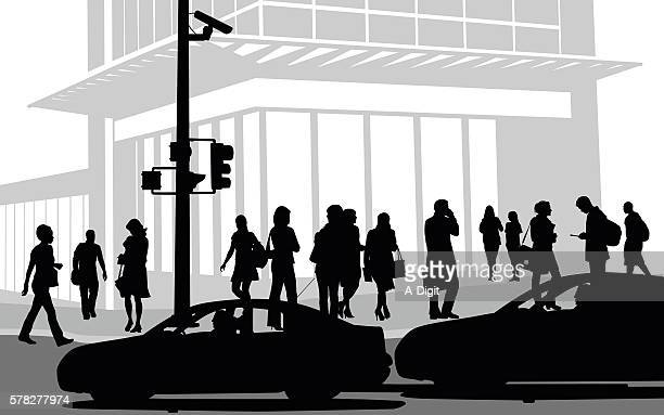 busy downtown street - shadow stock illustrations