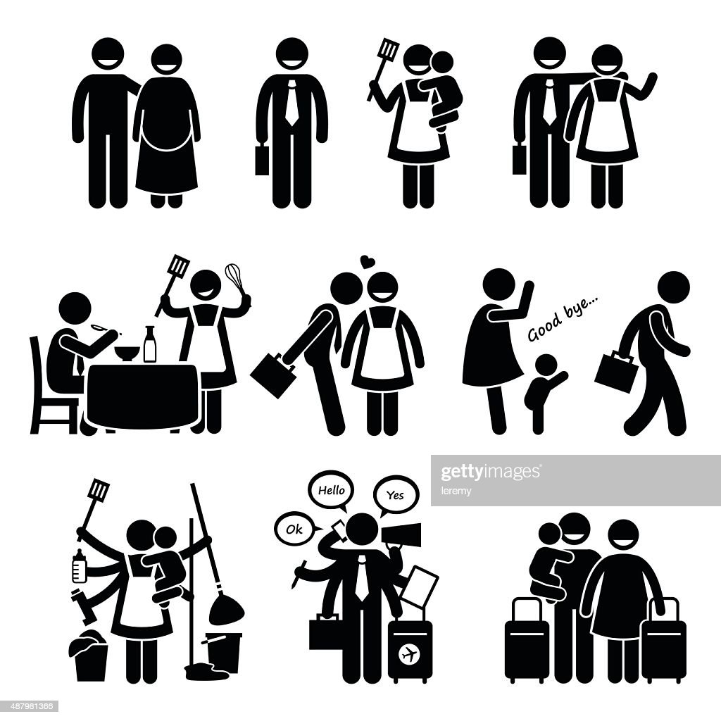 Busy Husband and Wife Happy Couple Family Pictogram