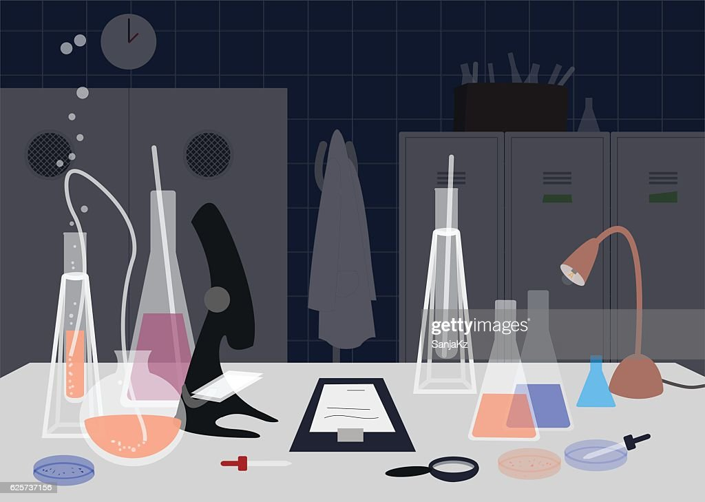 Busy laboratory with lab equipment