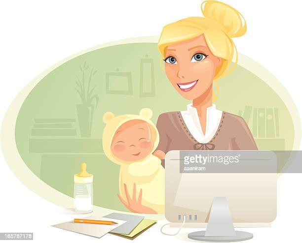 ilustrações de stock, clip art, desenhos animados e ícones de mãe ocupada - loira