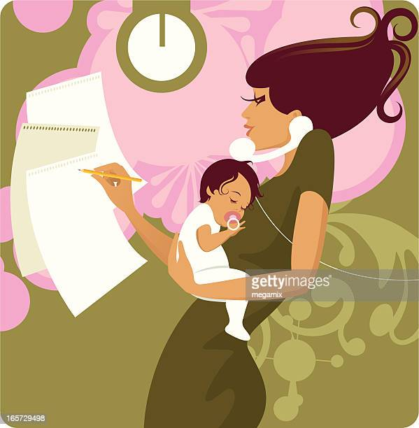 busy mother. - answering machine stock illustrations, clip art, cartoons, & icons