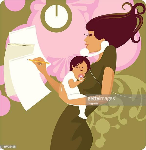 ilustraciones, imágenes clip art, dibujos animados e iconos de stock de agitado madre. - madre trabajadora