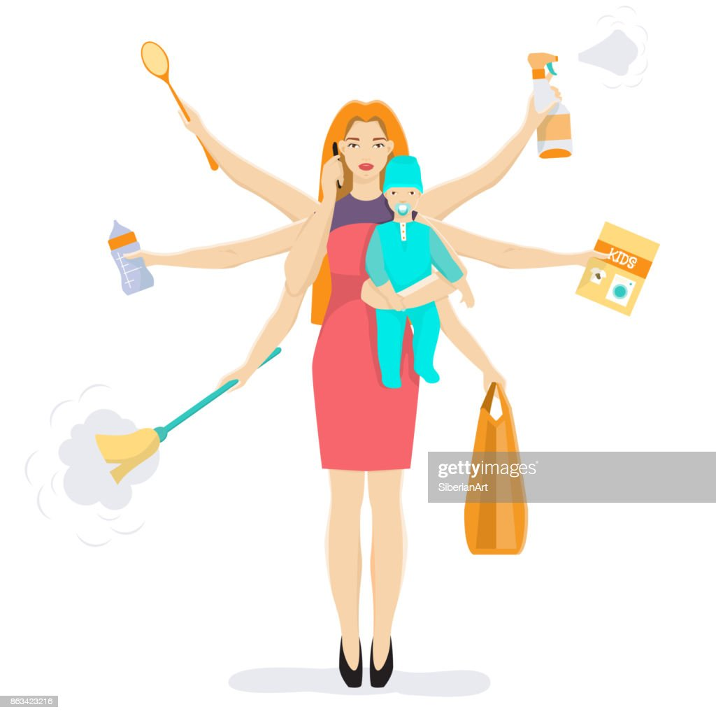 Busy multitasking woman and mom with baby vector flat illustration