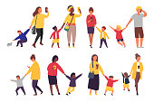 Busy parents with mobile smartphones. Children want attention from adults. Vector illustration