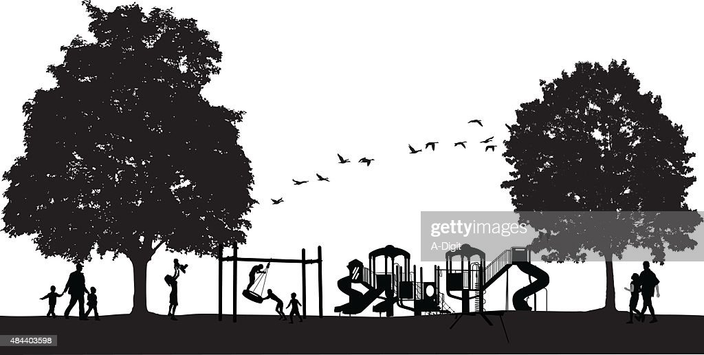 Busy Park Scene With Playground : stock illustration